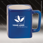 Engraved Ceramic 8 Oz. Coffee Mug Blue Laser Etched Gift Ceramic 8 Oz. Square Coffee Mugs