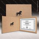 The Japel Engraved Leather Certificate Holder Light Brown With Black Letter Certificate Holders
