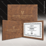 The Japel Engraved Leather Certificate Holder Rustic Brown With Gold Letter Certificate Holders