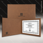 The Japel Engraved Leather Certificate Holder Dark Brown With Black Letters Certificate Holders