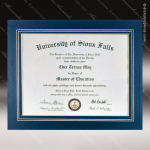 The Junice Certificate Holder Blue With Gold Foil Border Certificate Holders