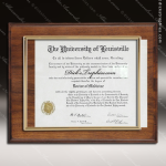 Engraved Walnut Finish Plaque Insert Certificate Holder Certificate Plaque Collection