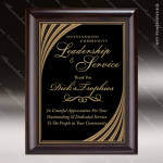 Engraved Cherry Hardwood Plaque Black Plate Gold Swirl Border Cherry Finish Plaques