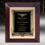 Engraved Cherry Hardwood Plaque Framed Black Plate Wreath Cast Border Wall Cherry Finish Plaques