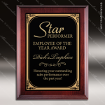 Engraved Cherry Hardwood Plaque Black Plate Wall Placard Award Cherry Finish Plaques