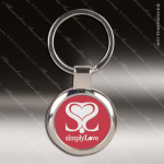 Laser Etched Engraved Keychain Chrome Red Round Gift Award Chrome Keychains