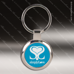 Laser Etched Engraved Keychain Chrome Blue Round Gift Award Chrome Keychains