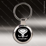 Laser Etched Engraved Keychain Chrome Black Round Gift Award Chrome Keychains