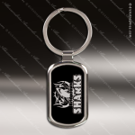 Laser Etched Engraved Keychain Chrome Black Rectangle Gift Award Chrome Keychains