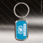 Laser Etched Engraved Keychain Chrome Blue Rectangle Gift Award Chrome Keychains