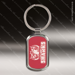Laser Etched Engraved Keychain Chrome Red Rectangle Gift Award Chrome Keychains