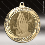 Medallion Laurel Wreath Series Religious Praying Hands Medal Church Religious Medals