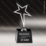Crystal Black Accented Silver Star Trophy Award CIP Crystal Trophy Awards