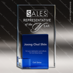 Crystal Blue Accented Double Rectangle Trophy Award CIP Crystal Trophy Awards