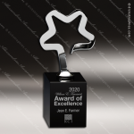 Crystal Black Accented New Avant Silver Star Trophy Award CIP Crystal Trophy Awards