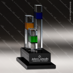Crystal Black Accented Square Towers Trophy Award CIP Crystal Trophy Awards