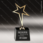 Crystal Black Accented Gold Star Trophy Award CIP Crystal Trophy Awards