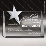 Crystal Silver Accented Top Star Rectangle Trophy Award CIP Crystal Trophy Awards