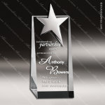 Crystal Silver Accented Top Star Tower Trophy Award CIP Crystal Trophy Awards
