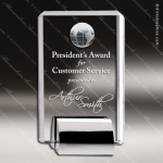 Crystal Silver Accented Tower Globe Chrome Base Trophy Award CIP Crystal Trophy Awards