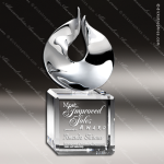 Crystal Silver Accented Solid Flame Trophy Award CIP Crystal Trophy Awards