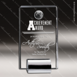 Crystal Silver Accented Globe Plaque Chrome Base Trophy Award CIP Crystal Trophy Awards