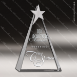 Crystal Silver Accented Top Star Triangle Trophy Award CIP Crystal Trophy Awards