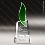 Crystal Green Accented Flame Torch Trophy Award CIP Crystal Trophy Awards