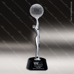 Crystal Sport Black Accented Golf Virtuoso Trophy Award CIP Crystal Trophy Awards