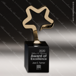 Crystal Black Accented Gold Star New Avant Trophy Award CIP Crystal Trophy Awards