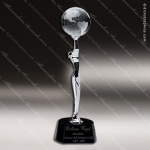 Crystal Black Accented Global Celebration Globe Trophy Award CIP Crystal Trophy Awards