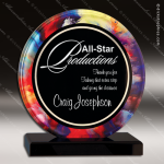 Acrylic Multi-Colored Accented Acrylic Art Circle Watercolor Trophy Award Circle Round Shaped Acrylic Awards