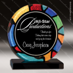 Acrylic Multi-Colored Accented Acrylic Art Circle Stained Glass Trophy Circle Round Shaped Acrylic Awards