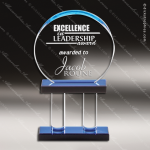 Acrylic Blue Accented Pillar Series Circle Trophy Award Circle Round Shaped Acrylic Awards