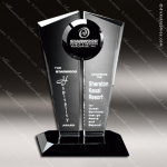 Crystal Black Accented Obsession Trophy Award Circle Round Shaped Crystal Awards