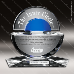 Crystal Blue Accented Concentric Trophy Award Circle Round Shaped Crystal Awards