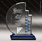 Crystal Blue Accented Azure Moon Trophy Award Circle Round Shaped Crystal Awards
