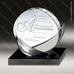 Crystal Black Accented Frost Circle Trophy Award Circle Round Shaped Crystal Awards