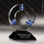 Crystal Blue Accented Galaxy Quest Circle Trophy Award Circle Round Shaped Crystal Awards