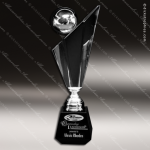 Crystal Black Accented Encore Silver Circle Sphere Trophy Award Circle Round Shaped Crystal Awards