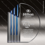 Crystal Blue Accented Circle Koncept IV Trophy Award Circle Round Shaped Crystal Awards