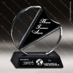 Crystal Black Accented Ingrained Circle Trophy Award Circle Round Shaped Crystal Awards