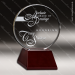Crystal Wood Accented Optic Beaumont Circle Trophy Award Circle Round Shaped Crystal Awards