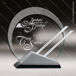 Crystal Silver Accented Circle Eclipse Trophy Award Circle Round Shaped Crystal Awards