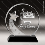 Crystal Black Accented Round Silver Star Trophy Award Circle Round Shaped Crystal Awards