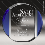 Crystal Blue Accented Circle Trophy Award Circle Round Shaped Crystal Awards