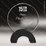 Crystal Black Accented Round Circle Newport Trophy Award Circle Round Shaped Crystal Awards