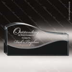 Crystal Black Accented Oval Vista Trophy Award Circle Round Shaped Crystal Awards