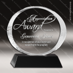 Crystal Black Accented Oval Circle Trophy Award Circle Round Shaped Crystal Awards