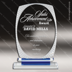 Crystal Blue Accented Round Oval Scalloped Aurora Trophy Award Circle Round Shaped Crystal Awards